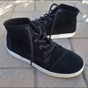 Toms Paseo High Top Black Suede Shoes 8.5